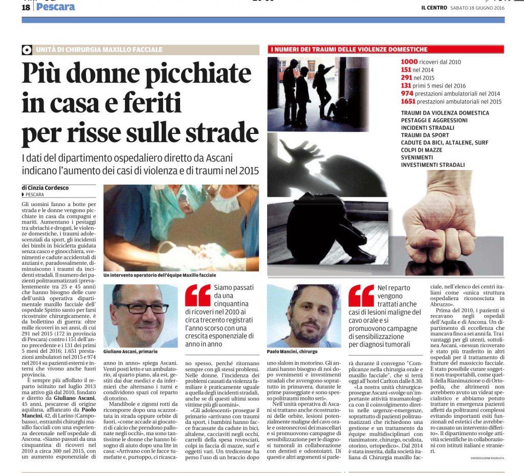 Attività della UO di Maxillo Facciale di Pescara - Articolo de Il Centro